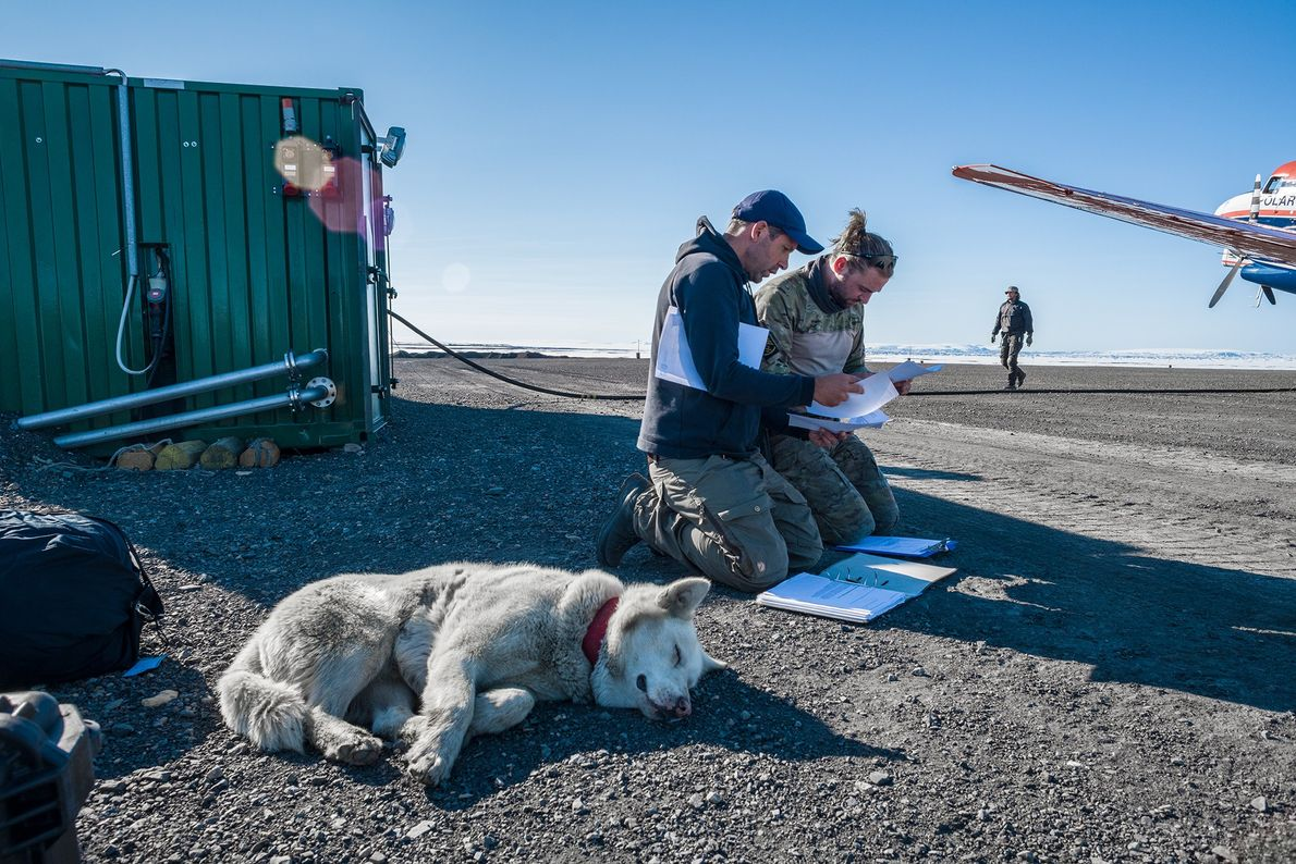 Everyone—soldiers, researchers, engineers, and pilots—works closely together at Station Nord. Thomas Krumpen (at left), a scientist ...