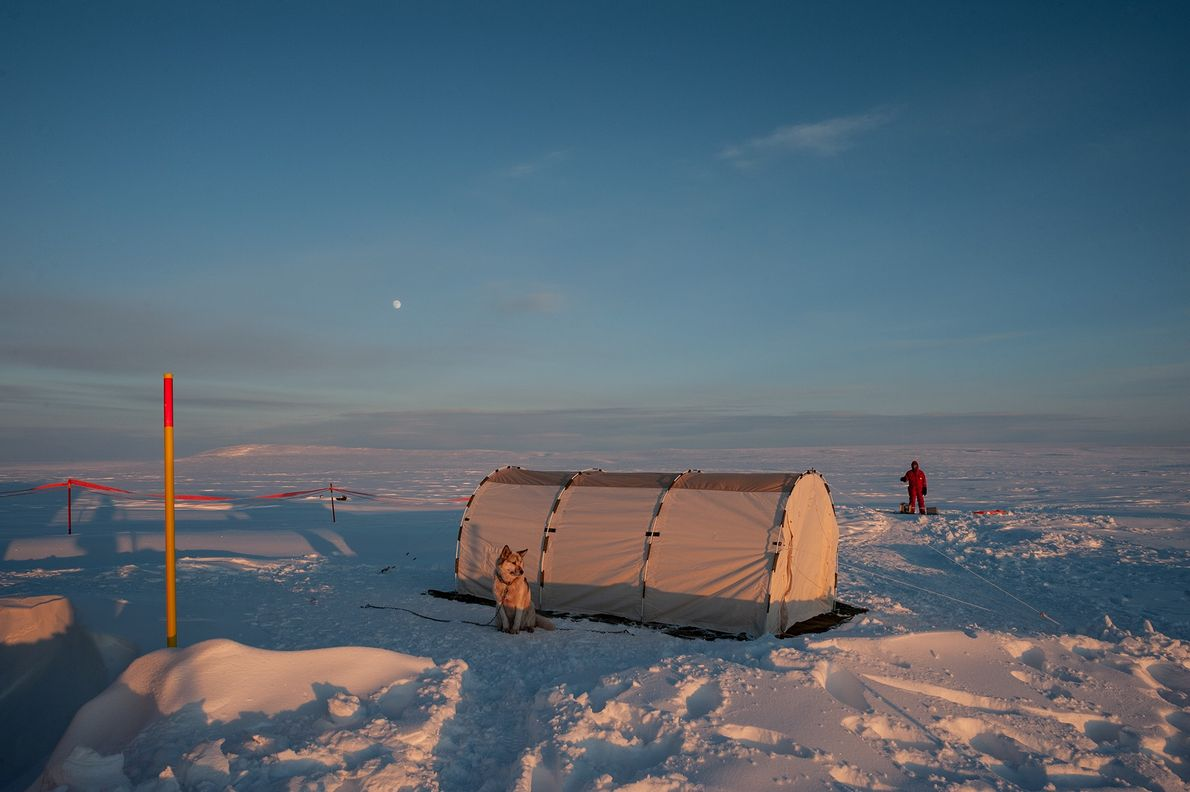 A temporary tent provides shelter for researchers working on a meteorological experiment that required 24-hour monitoring. ...