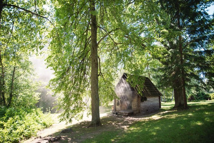 A sauna smokes on the grounds of the Põlva Talurahvamu Museum in southern Estonia.