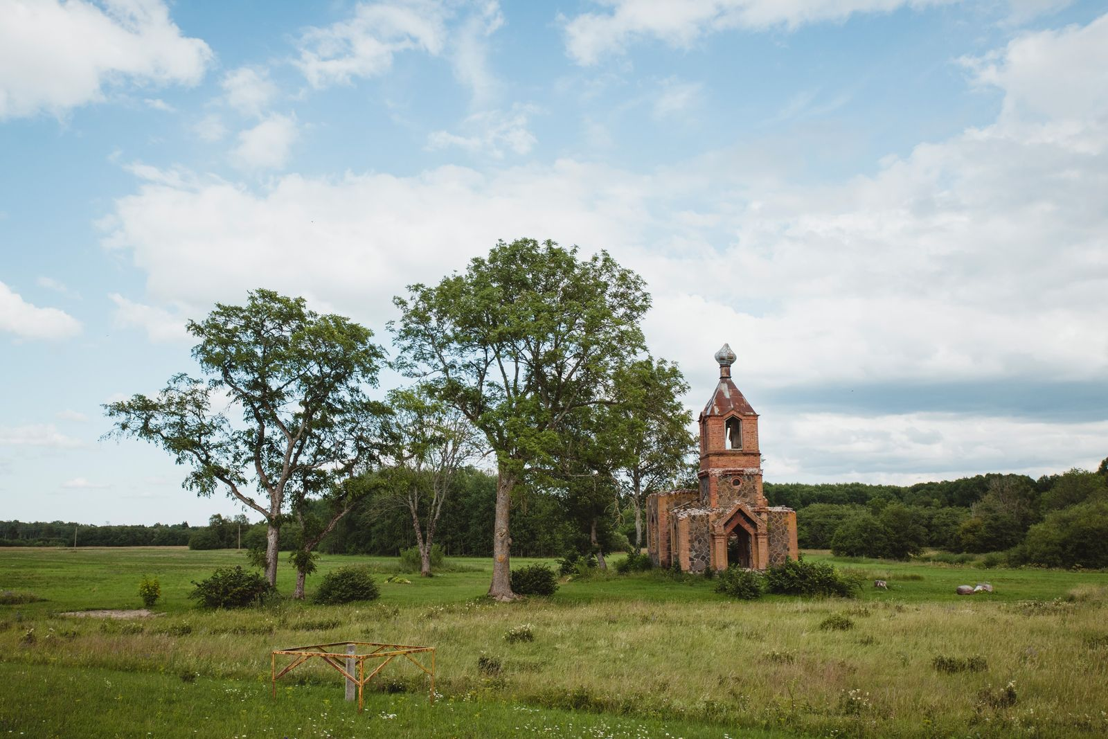 Destroyed Kullamaa Saint Nikolaus church in Lääne county, Estonia. Estonia had Christianity forced upon it, but ...