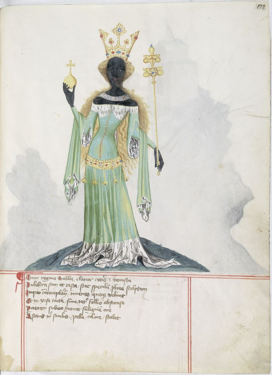 The Queen of Sheba, depicted in a medieval German illustration.