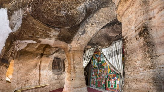 The domed ceiling at Mikael Milhayzenghi cave church, excavated from solid rock about the 8th century. ...