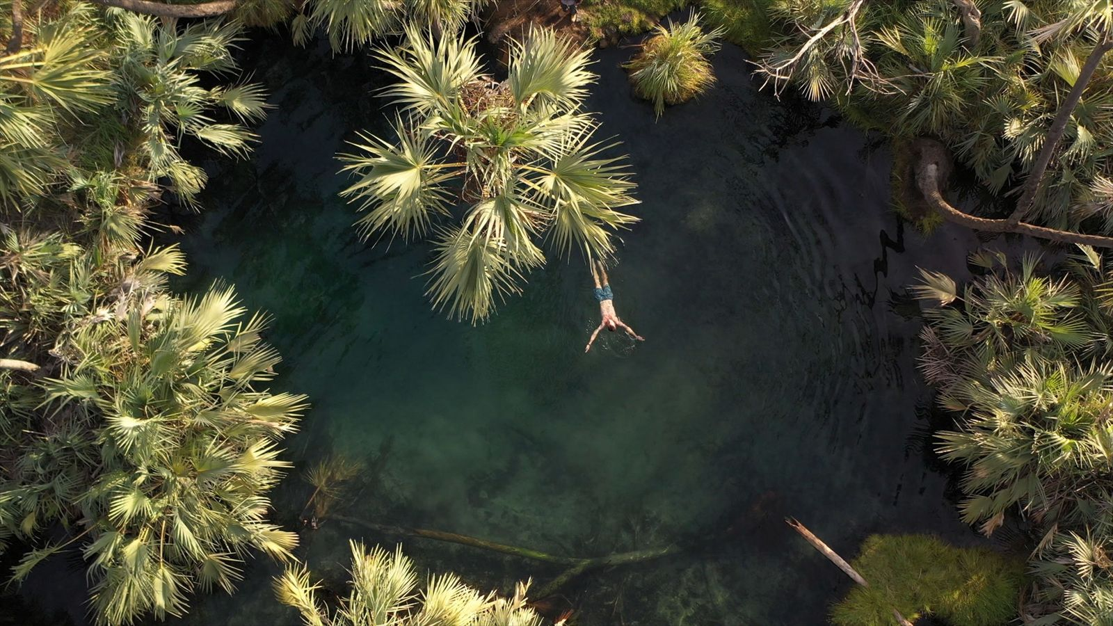 Mack Woodruff swims in a natural hot spring at Aledeghi Wildlife Reserve in Ethiopia, one of ...