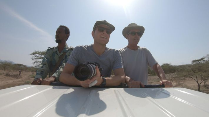 (From left) A guide accompanies Mack and Bob Woodruff through Ethiopia's Aledeghi Wildlife Reserve for Rogue ...