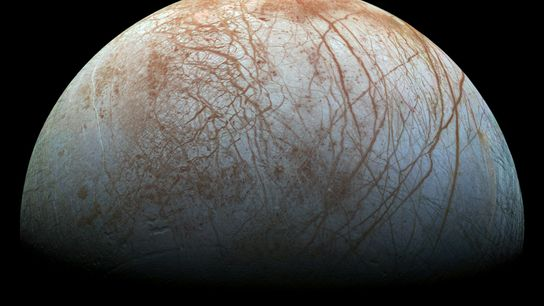 Jupiter's moon Europa has a thick icy crust that may hide a deep ocean below—one of ...