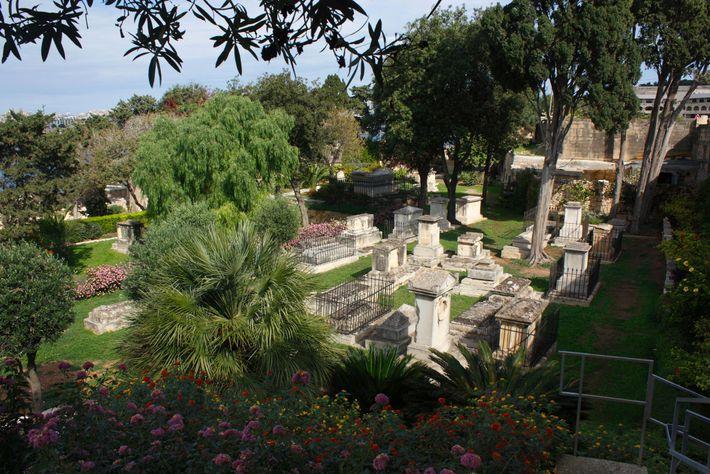 The verdant Msida Bastion Garden overlooks Marsamxett Harbour on the fringe of Malta's capital city.