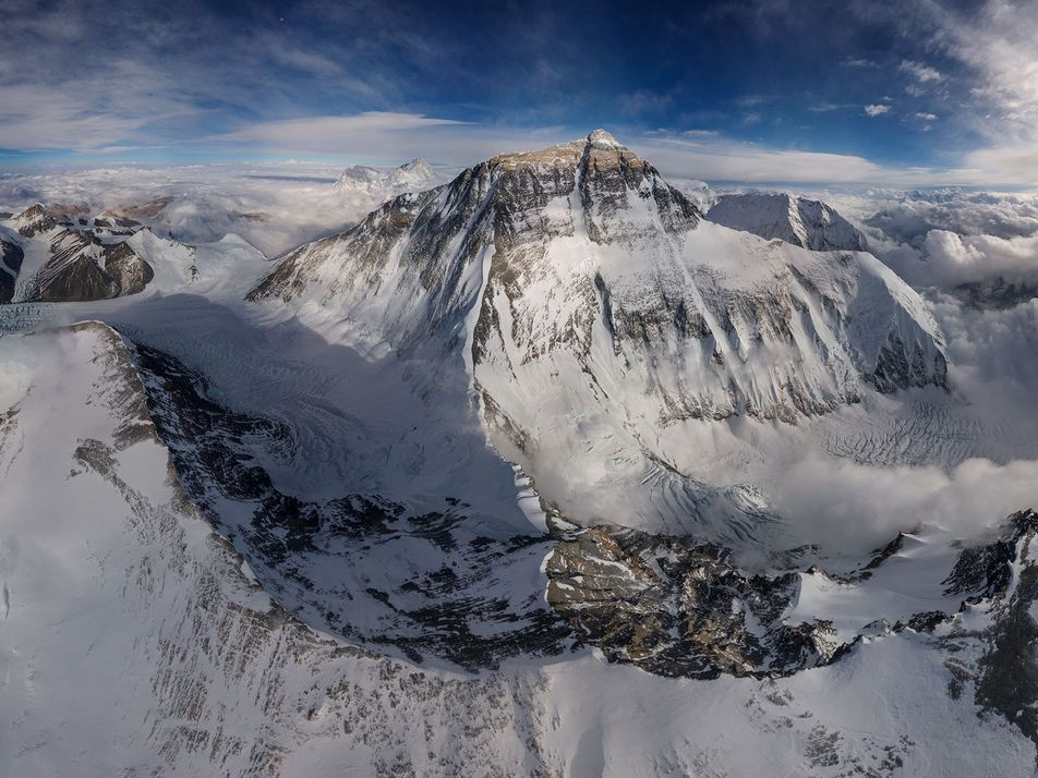 High-altitude drone captures rare view of Mount Everest