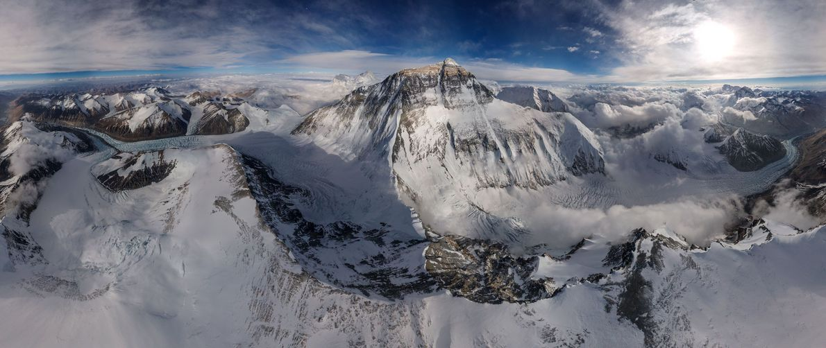 Photographer Renan Ozturk used specially modified drones to capture Mount Everest and its surrounding peaks in ...