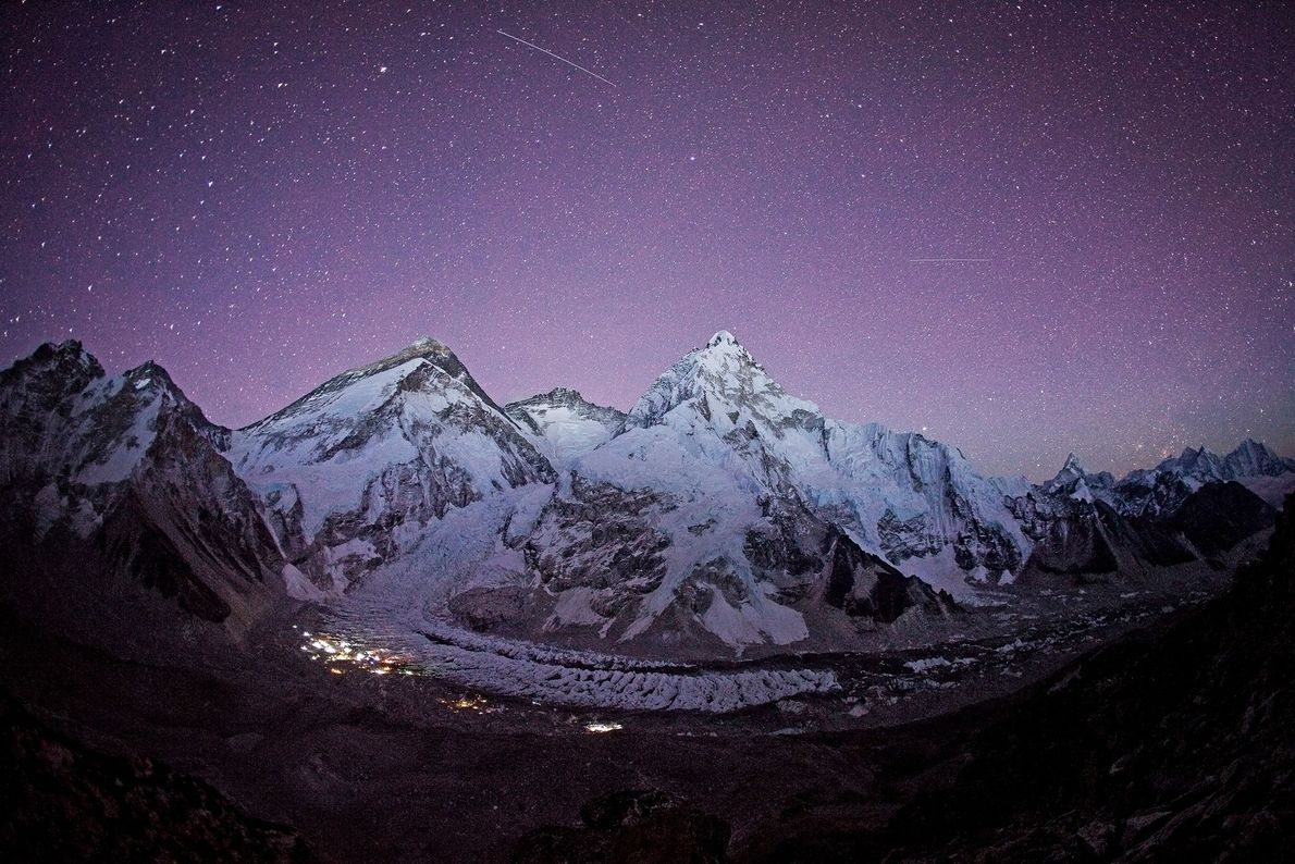 An extraordinary night sky glitters above Everest Base Camp in 2012.