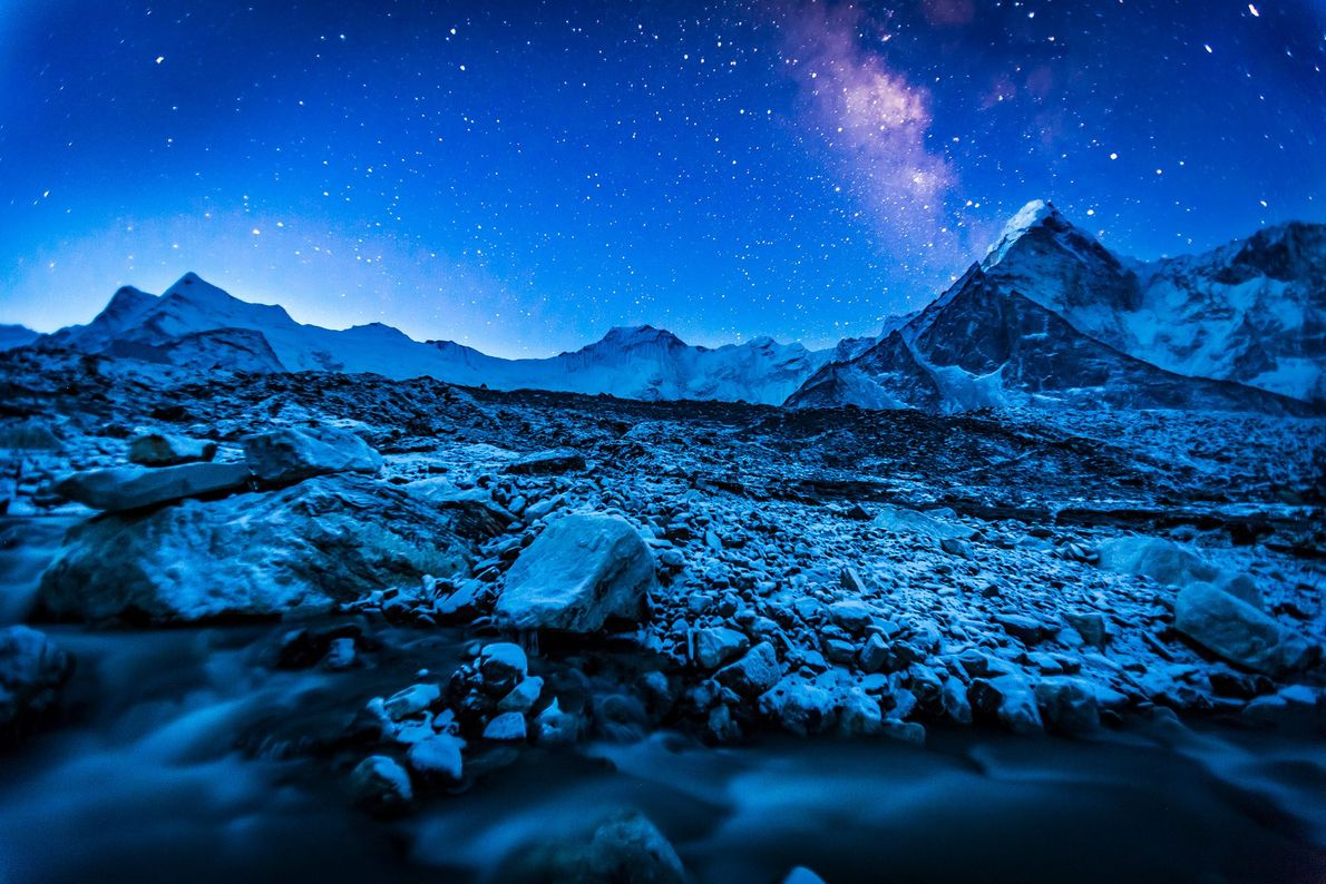 The Milky Way dazzles above the Himalaya, a mountain range that stretches 1,500 miles across Asia. ...
