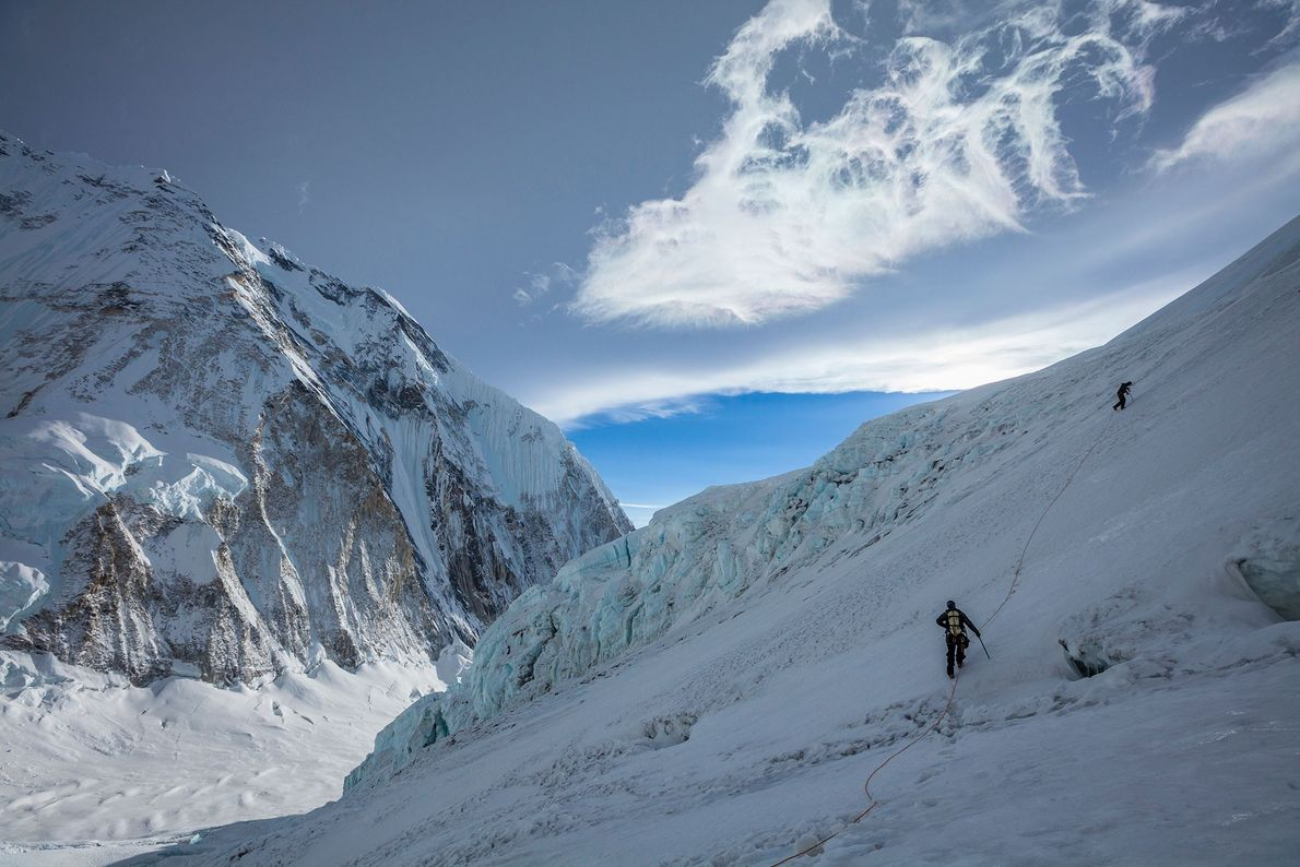 Conrad Anker and Jangbu Sherpa climb up the West Shoulder of Everest to retrieve gear Anker ...