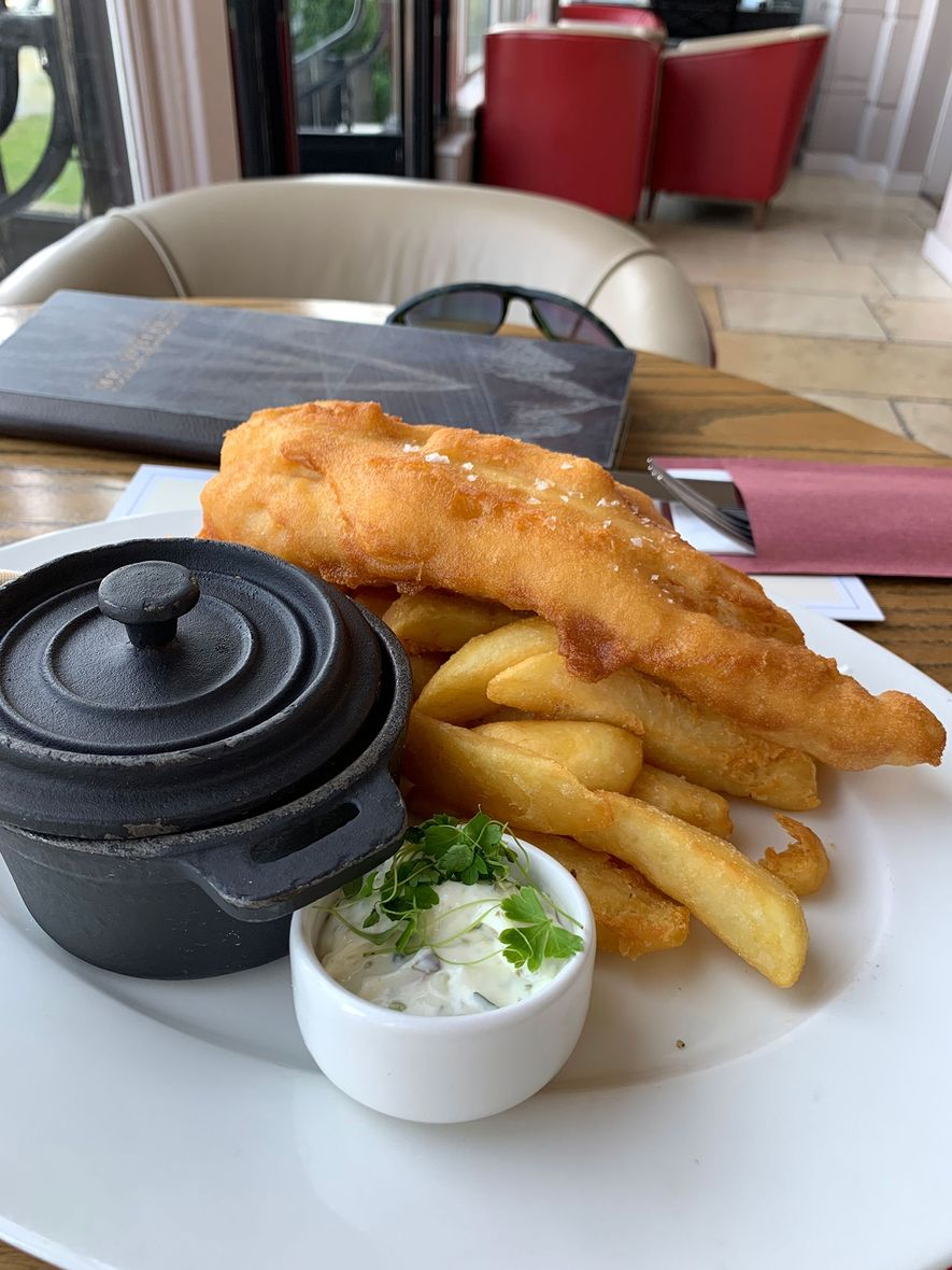 Lea lost 20 pounds climbing Mount Everest, so he needed to gain weight fast to prepare to swim the English Channel. He turned to carb- and fat-heavy foods, like this plate of fish and chips.