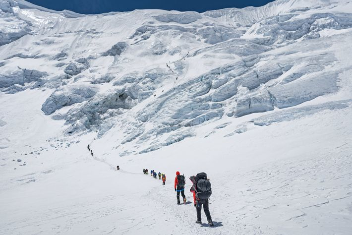 Bound for the North Col, climbers typically spend a night or two at 23,000 feet to ...