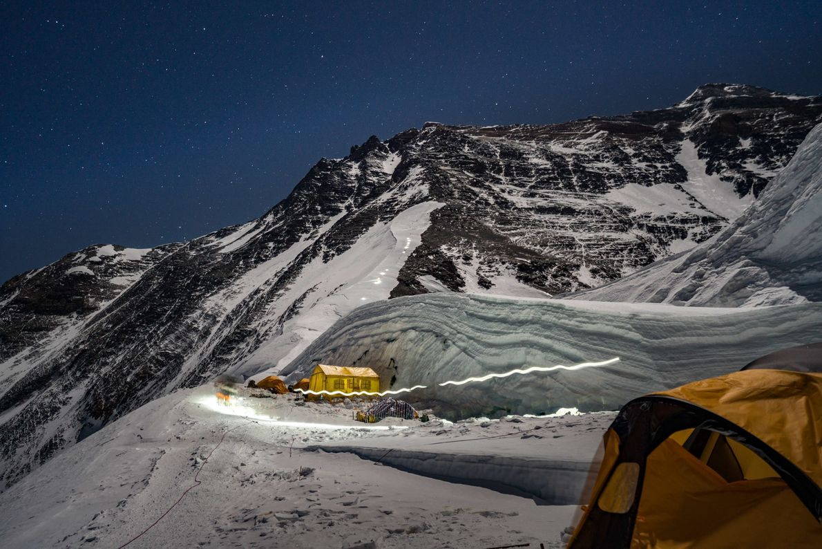Headlamps blaze as climbers ascend the mountain from the North Col in this time-lapse image from ...