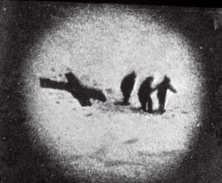 A pair of sleeping bags crossed in the snow signalled to teammates in 1924 that all ...