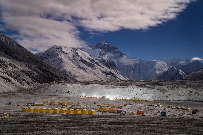 """Nicknamed the """"gravel parking lot"""" by the team, Everest Base Camp can be reached directly by ..."""