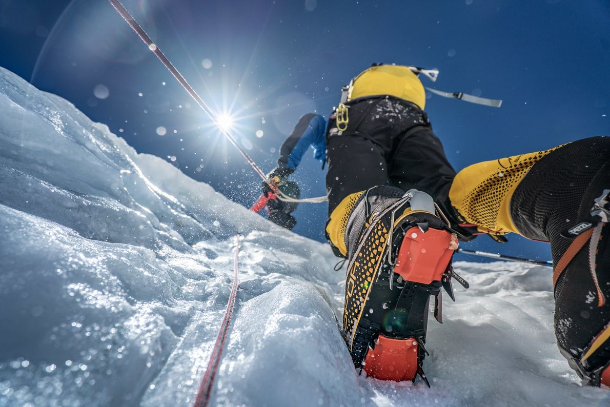 """This was the fun part,"" said author Mark Synnott of the steep, icy ascent at about ..."