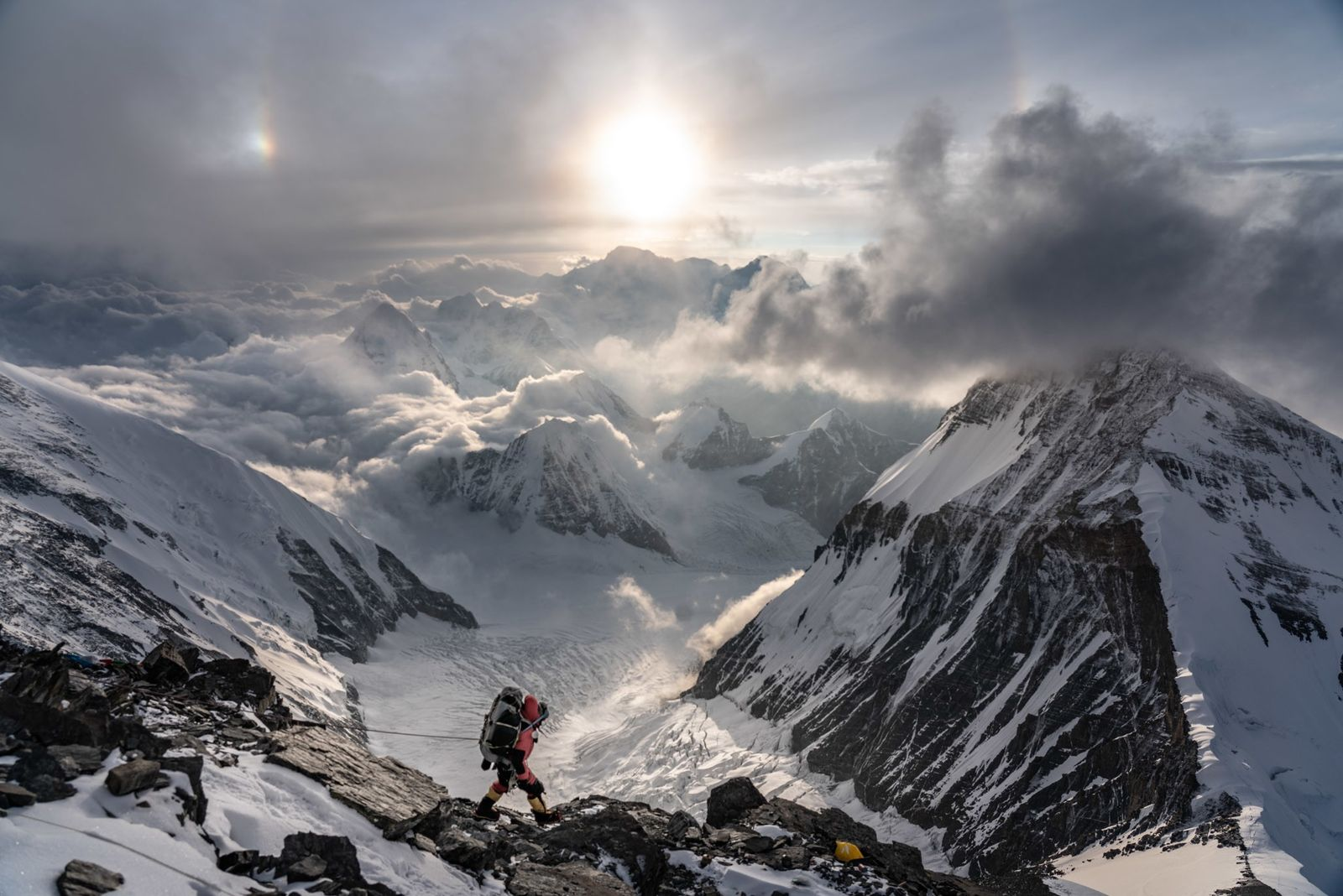 Bal Bahadur Lopchan, a support team member descends after the expedition completed its unsuccessful search for ...