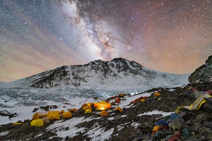 The top of the world seems as distant as the Milky Way from Advanced Base Camp, ...