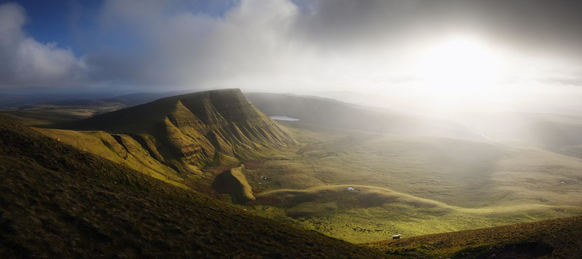 Looking towards Picws Du, a summit of The Black Mountain in the Brecon Beacons National Park. ...