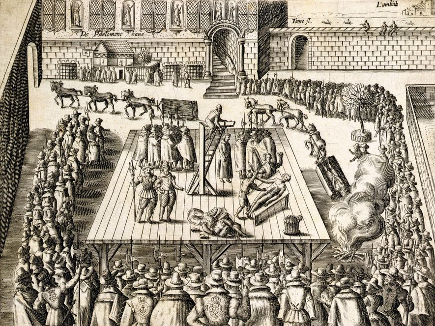 A 1606 engraving depicting the execution of Guy Fawkes and three fellow plotters on January 31 ...