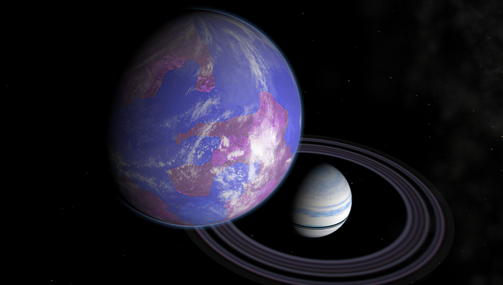 This is an artist's impression of a hypothetical Earth-like moon orbiting a Saturn-like exoplanet.