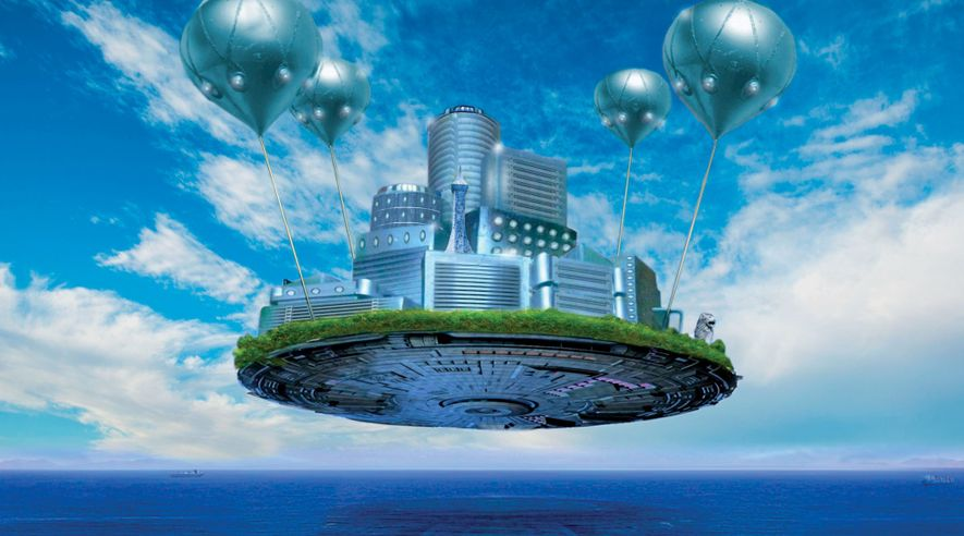 Hydrogen balloons suspend Singapore's residents over the rising sea. This space station–style city has an independent ecosystem that recycles air and water and grows its own food.