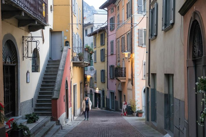 A street scene in Lovere, a town situated on the northern tip of Lake Iseo.