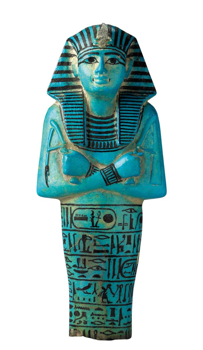 Faience Ushabti found in the tomb of Seti I. British Museum, London
