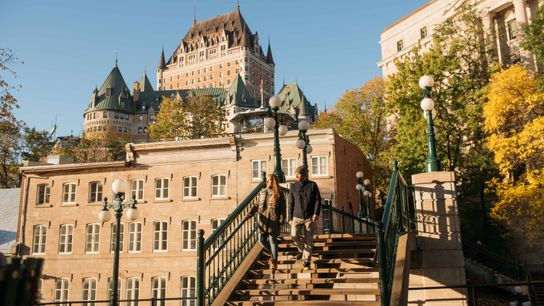 The Fairmont Le Chateau Frontenac looms high above the city.