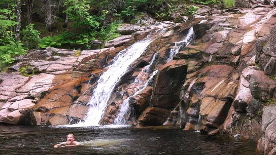 Mary Ann Falls in Cape Breton Highlands National Park spills into a refreshing swimming hole.