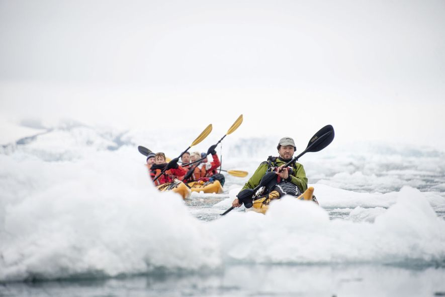Kayaking is a great way to have a close-up experience with the Arctic nature, popular with ...