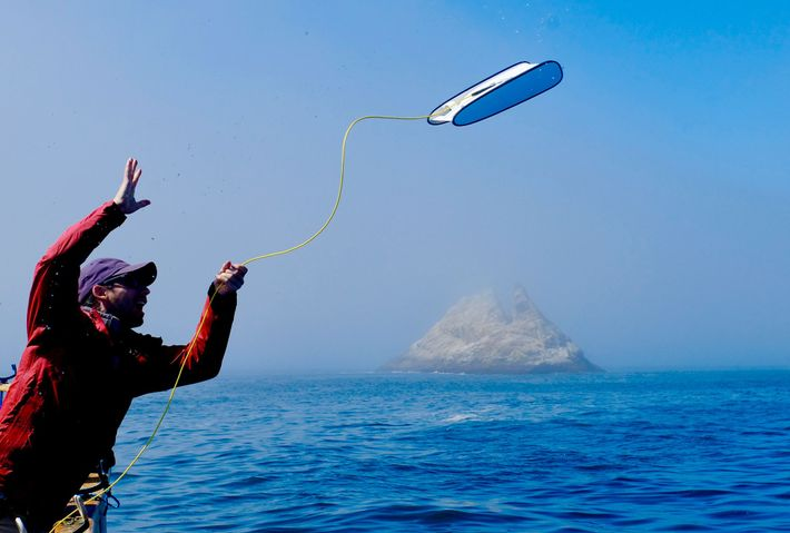 Eric Stackpole, cofounder of Open ROV, tosses a Trident overboard into the waters of 'Shark Alley', ...