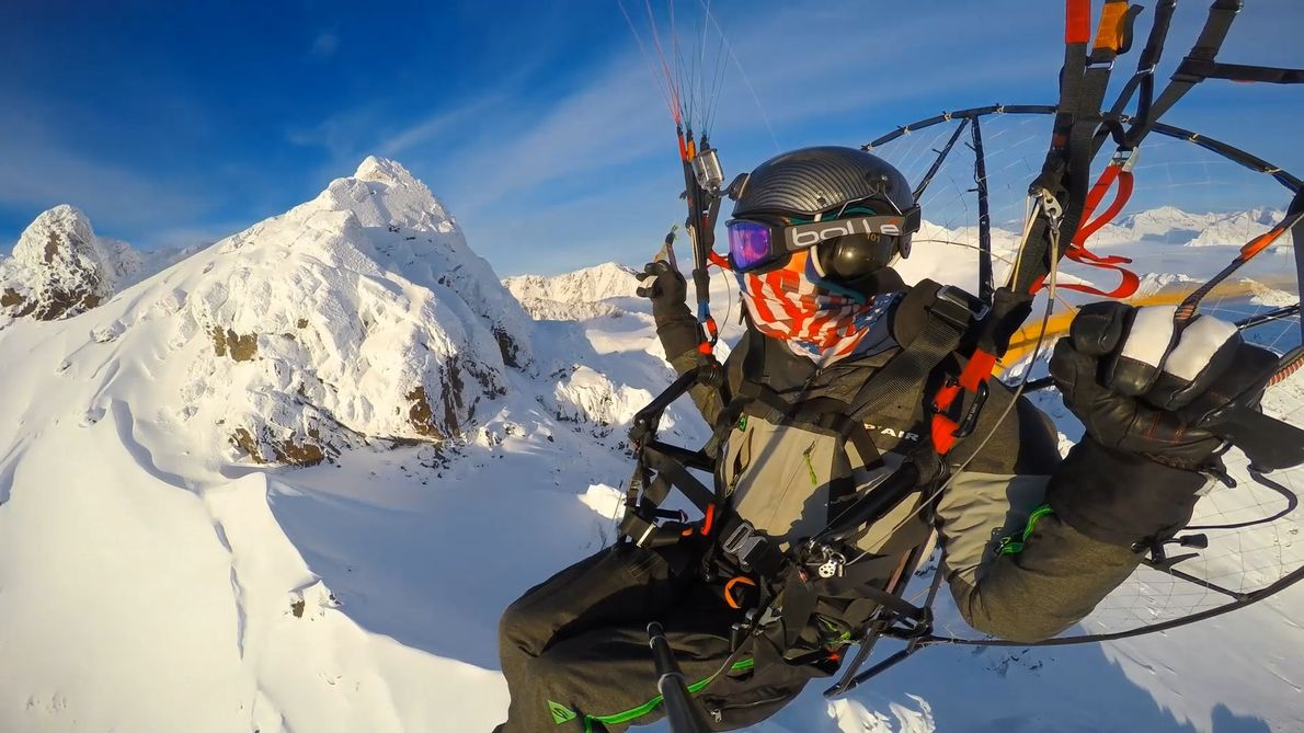 Soaring Free over Alaska's Chugach Mountains and Knik Glacier by Paraglider