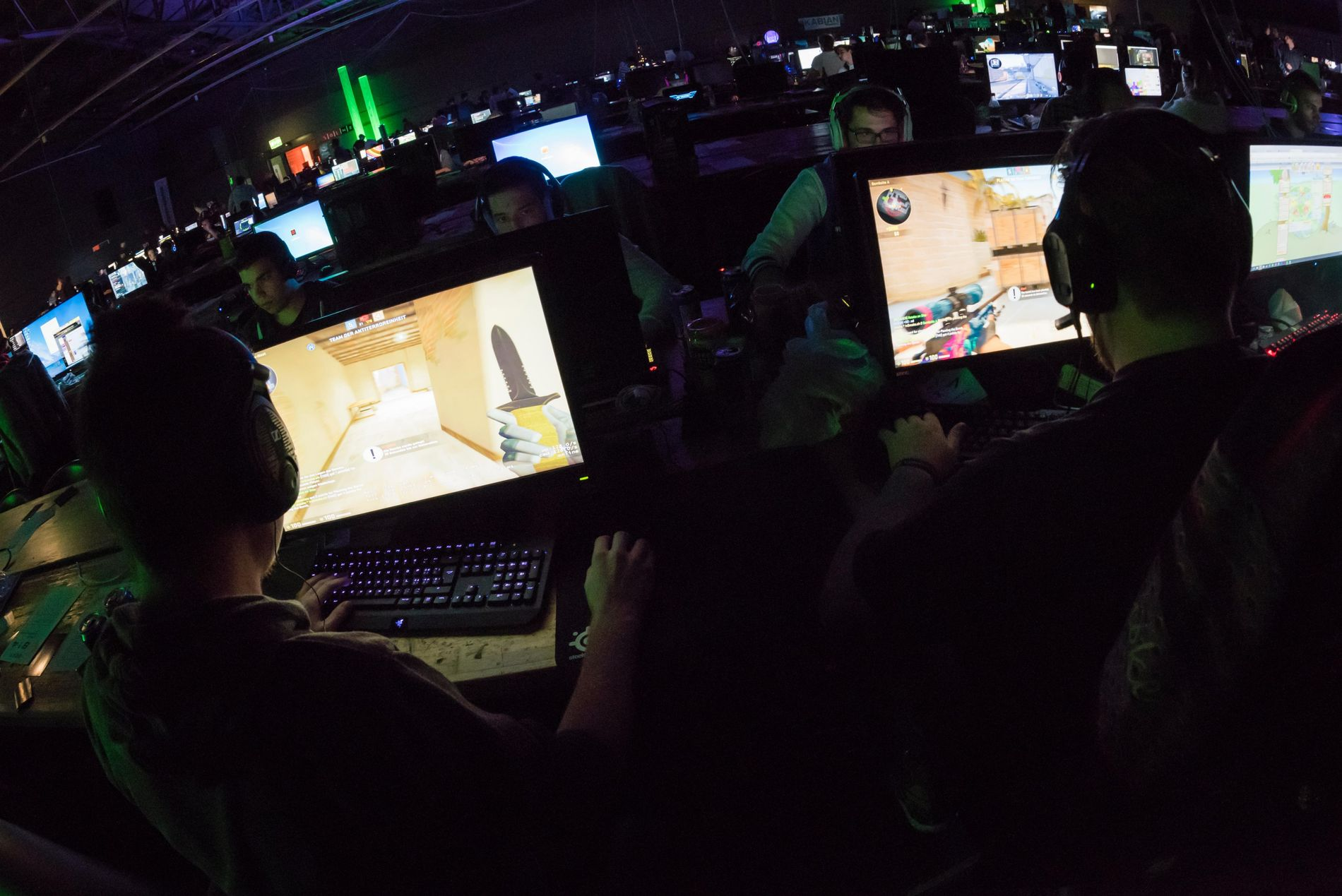 Competitors at a computer game tournament in Switzerland. For 3 days and nights, competing fans and ...