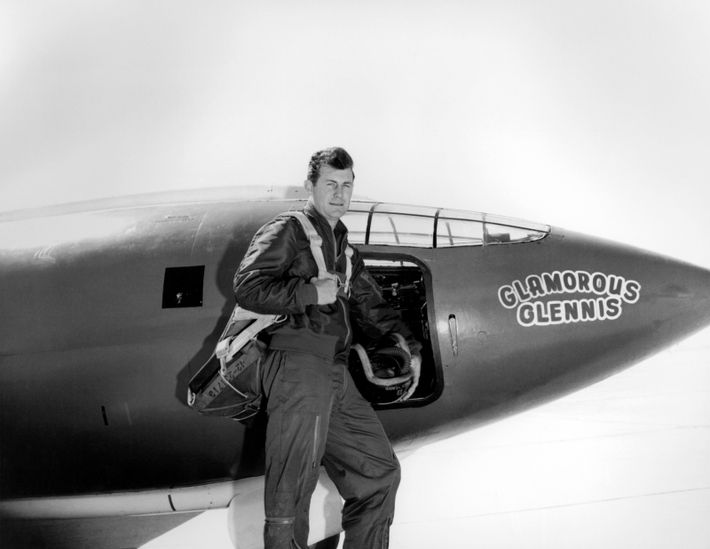 Chuck Yeager, pictured next to the Bell X-1. Many believe the sound-barrier breaking X-1 design incorporated ...