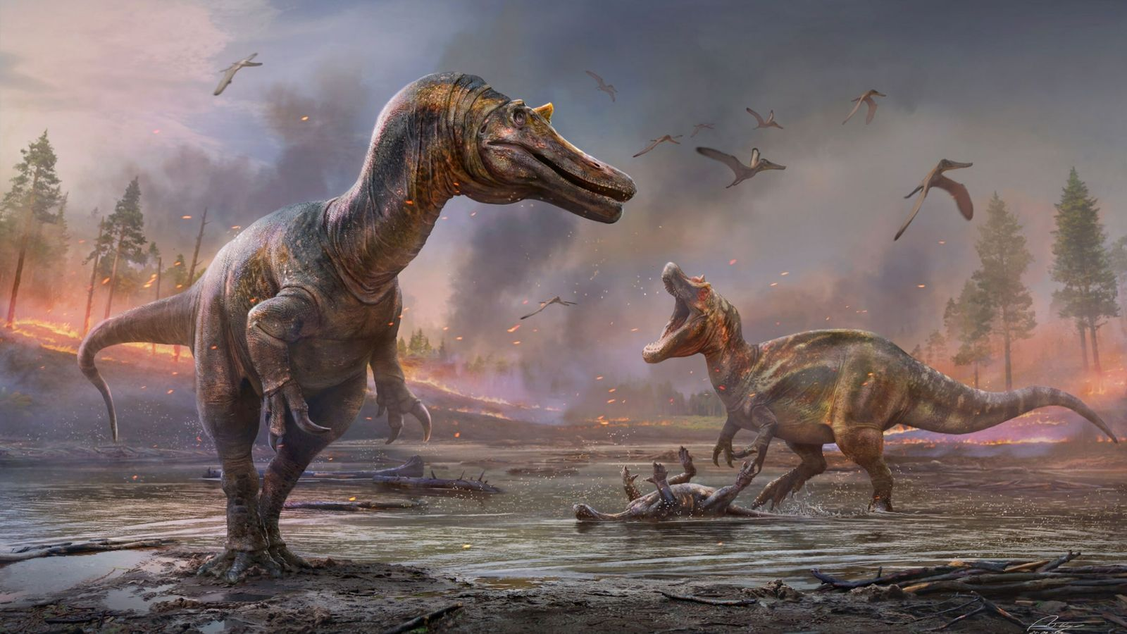 In this artist's depiction, wildfire smoke clouds the skies above a Cretaceous Isle of Wight, providing ...