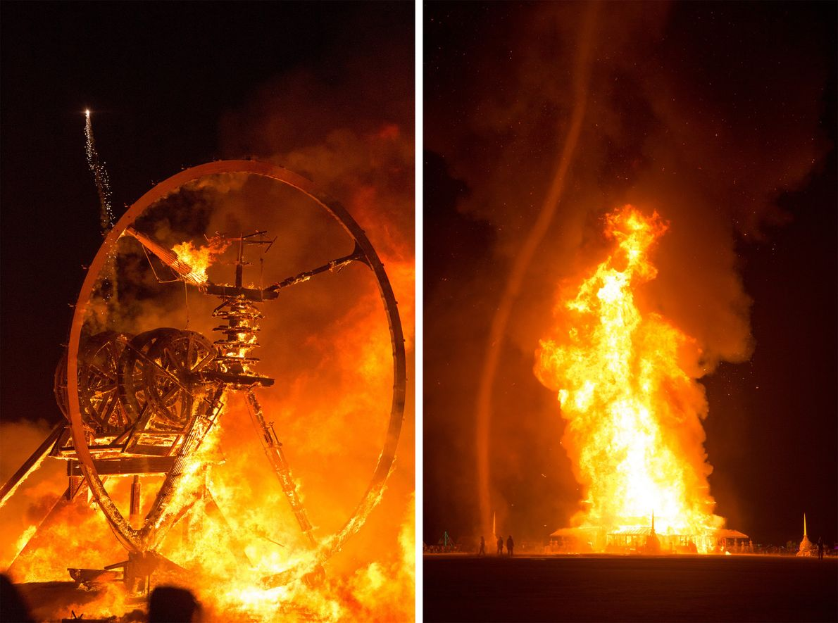 The burning of the Man and the Temple light up the night sky during Burning Man ...