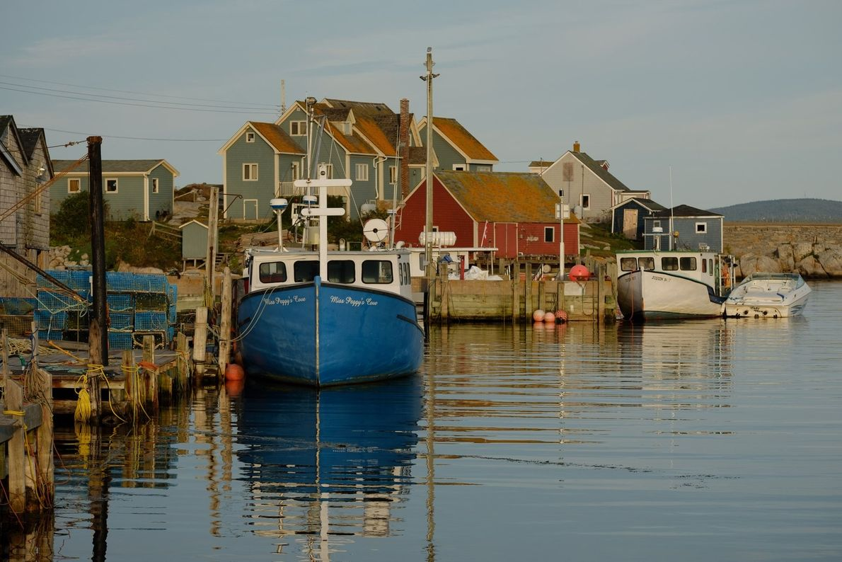 The quaint fishing village of Peggy's Cove is one of the best-preserved lobster fishing coves in ...