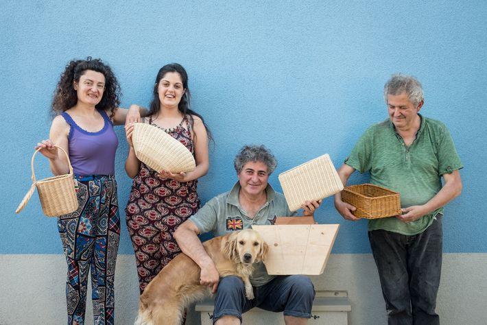 Weaver Tonino Nardi poses with his family (from left: Morena, his wife; Sara, his daughter; Tonino; ...