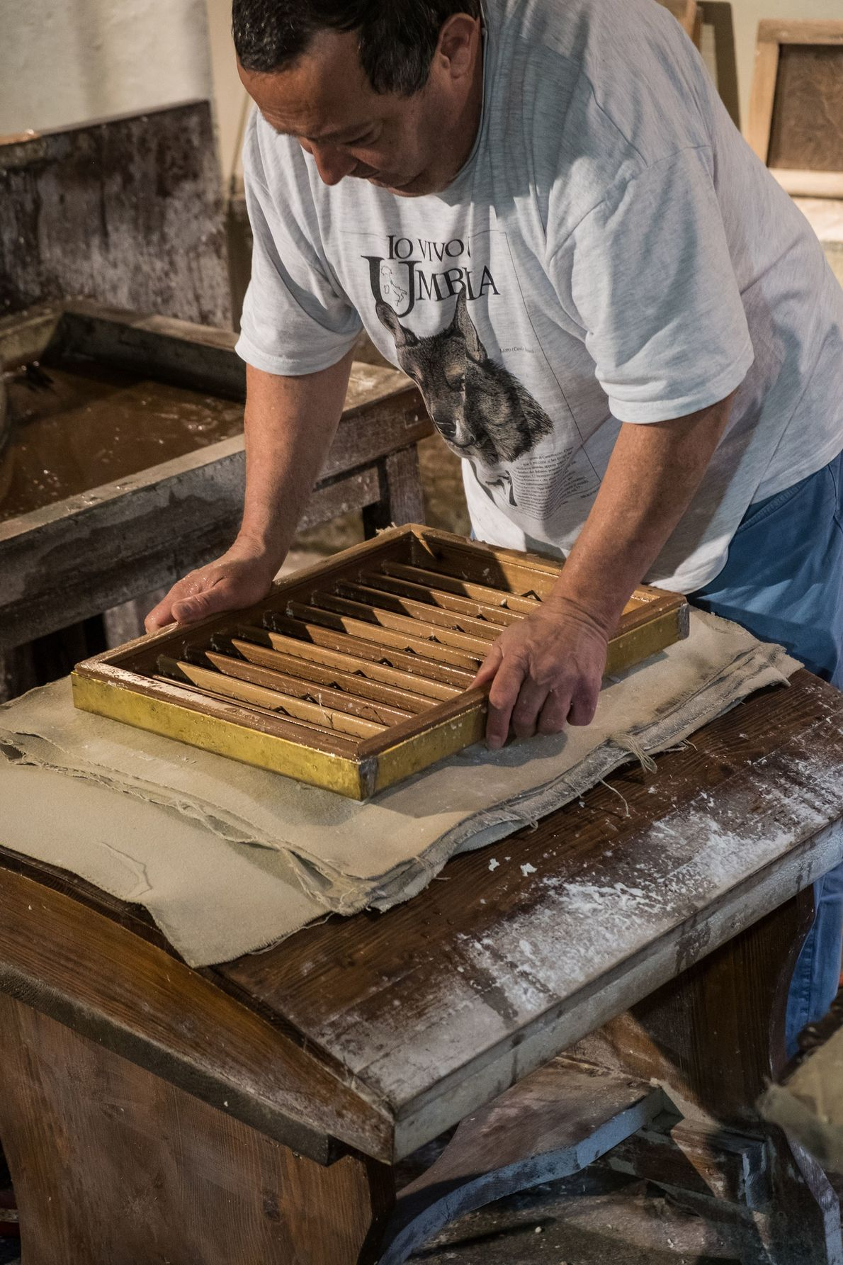 Further stages of paper-making in the workshop at Fabriano's Paper and Watermark Museum.
