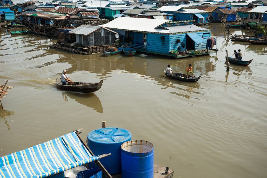 The floating village of Kompong Luong is located on the Tonle Sap lake in Cambodia, where ...