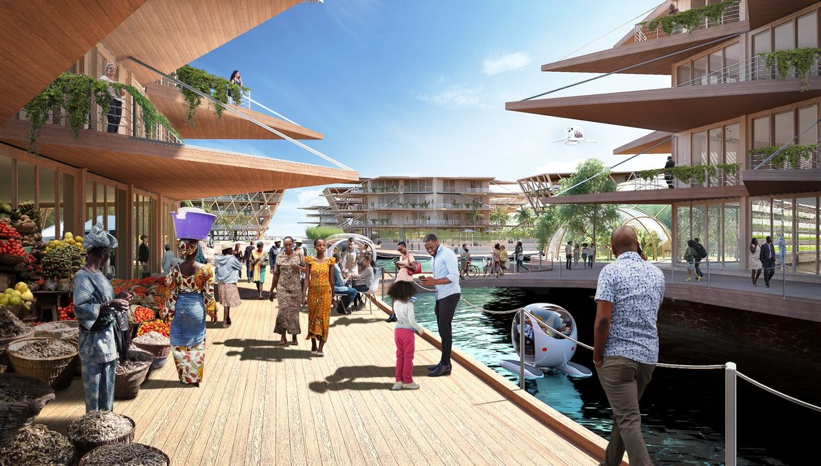 In this design envisioned for an African city, community spaces are stressed.