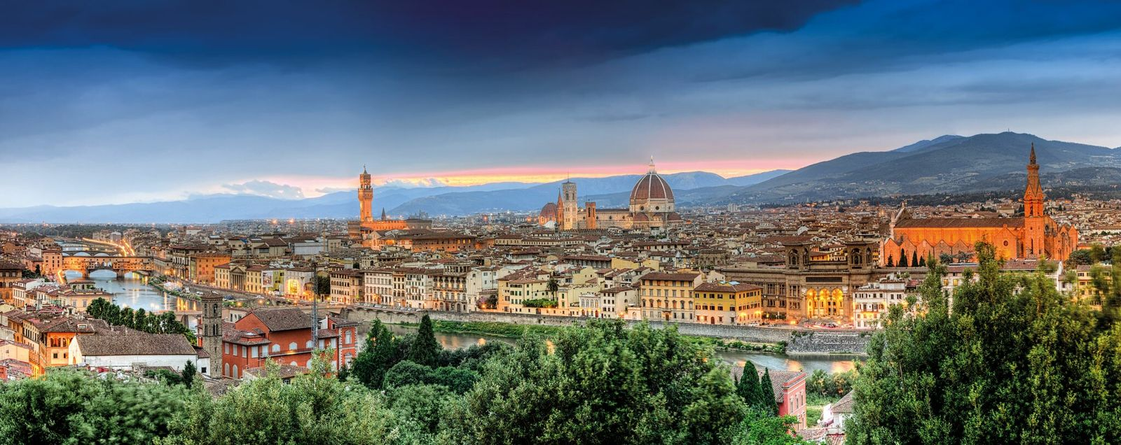 Florence's famous domed cathedral stands near two important sites in Machiavelli's life: the Palazzo Vecchio (left, ...