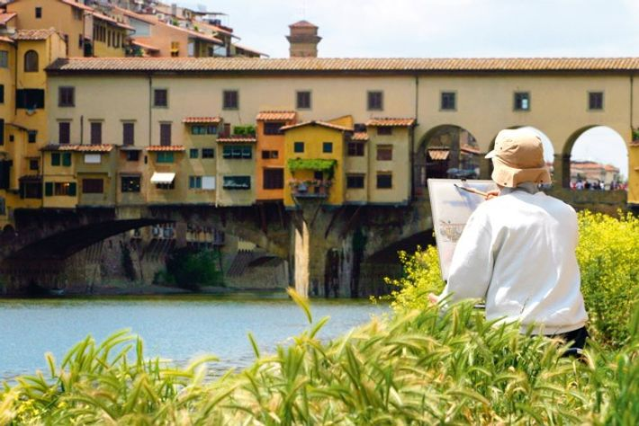Painting the Ponte Vecchio and Arno River, Florence. Image: Alamy