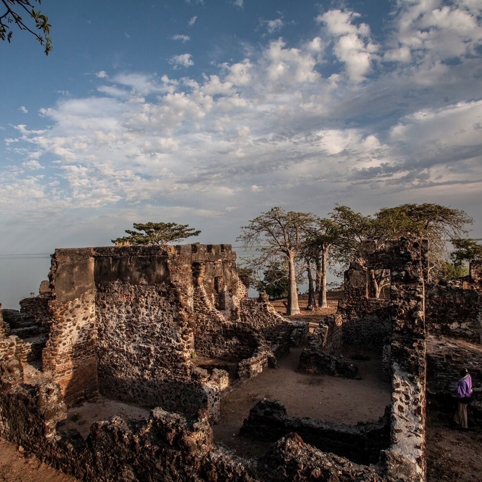 The ruins of a former fort and slave station on Kunta Kinteh Island, formally known as ...