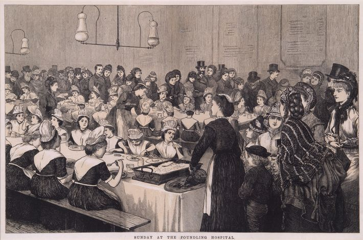 An engraving depicts onlookers observing the children as they eat their Sunday lunch.