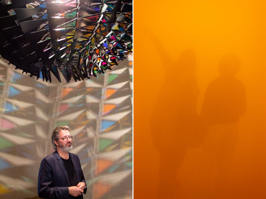 Left: Olaf Eliasson beneath In Real Life (2019), one of several new pieces collected for this ...