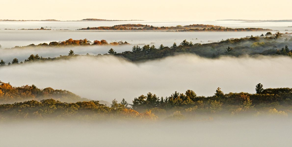 Fog settles over the lakes in early morning.