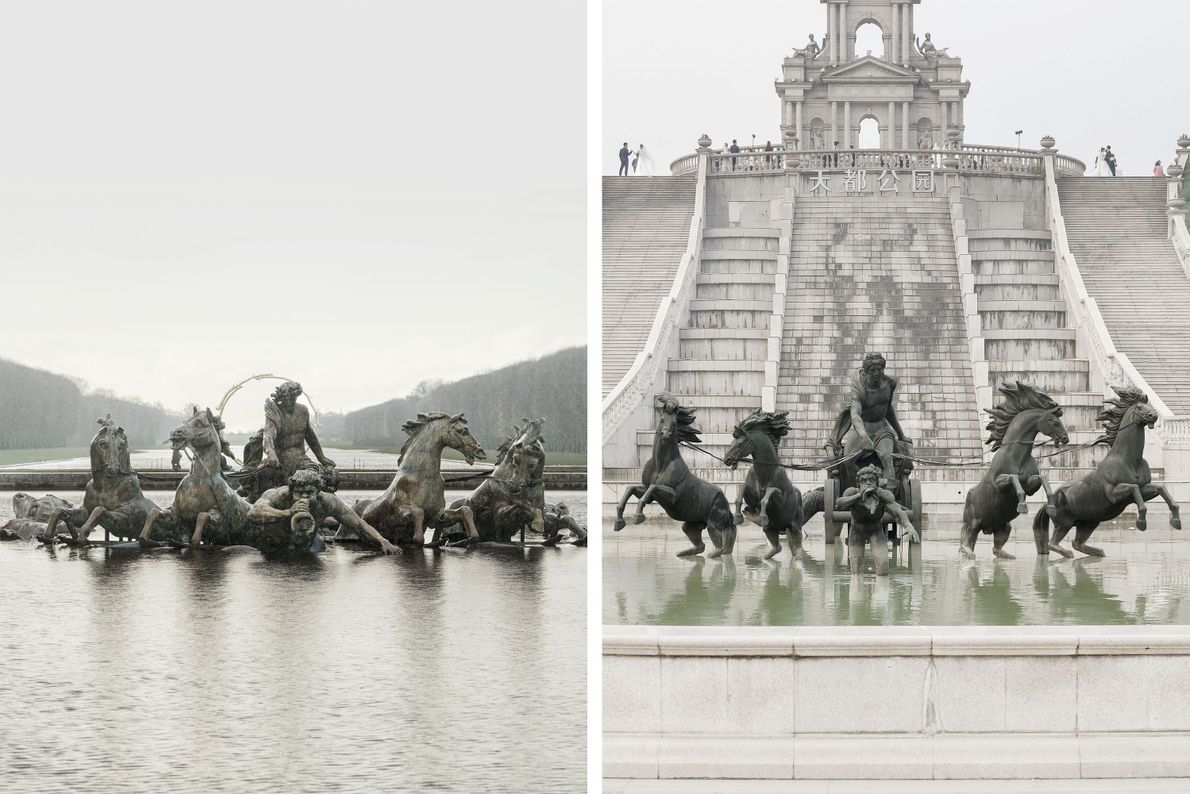 The Fountain of Apollo in Versailles (left) has a second home in Tianducheng (right).